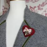 Herzerl-Brosche Schleiferl Rot-Rosa